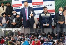 Apni Party president, Altaf Bukhari addressing party workers in Jammu on Sunday.