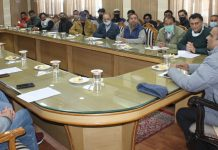 Regional PF Commissioner, J&K and Ladakh, Prasant K chairing a meeting of HRAK members in Katra.