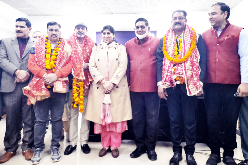 JMC Mayor and Deputy Mayor posing for a group photograph with three newly elected chairman of standing committee.