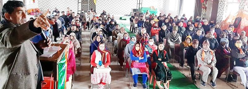 MP, Jugal Kishore Sharma inaugurating party's training camp at village Agore on Saturday.