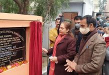 Secretary RDD, Sheetal Nanda laying foundation stone of library at Gurah Slathia on Saturday.