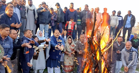 NC Provincial President Devender Singh Rana during Lohri celebrations on Wednesday.