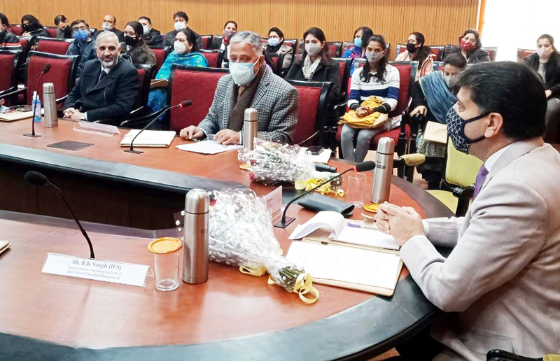Commissioner Secretary Higher Education Department Talat Parvez Rohella addressing participants of a programme on Saturday.