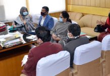 Secretary RDD Sheetal Nanda chairing a meeting at Jammu.