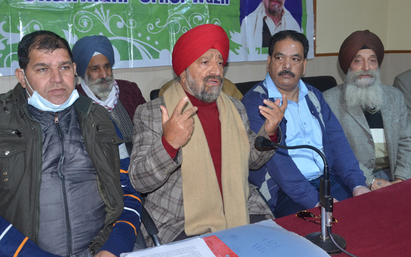 All J&K Transport Welfare Association president, T S Wazir addressing press conference in Jammu on Thursday. — Excelsior/Rakesh