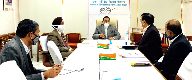 Union Minister Dr. Jitendra Singh convening a meeting of senior officers of the Ministry of Northeast, at DoNER headquarters at Vigyan Bhavan complex,New Delhi on Tuesday.