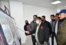 DDC Rajesh K Shavan inspecting developmental work in Rajouri.