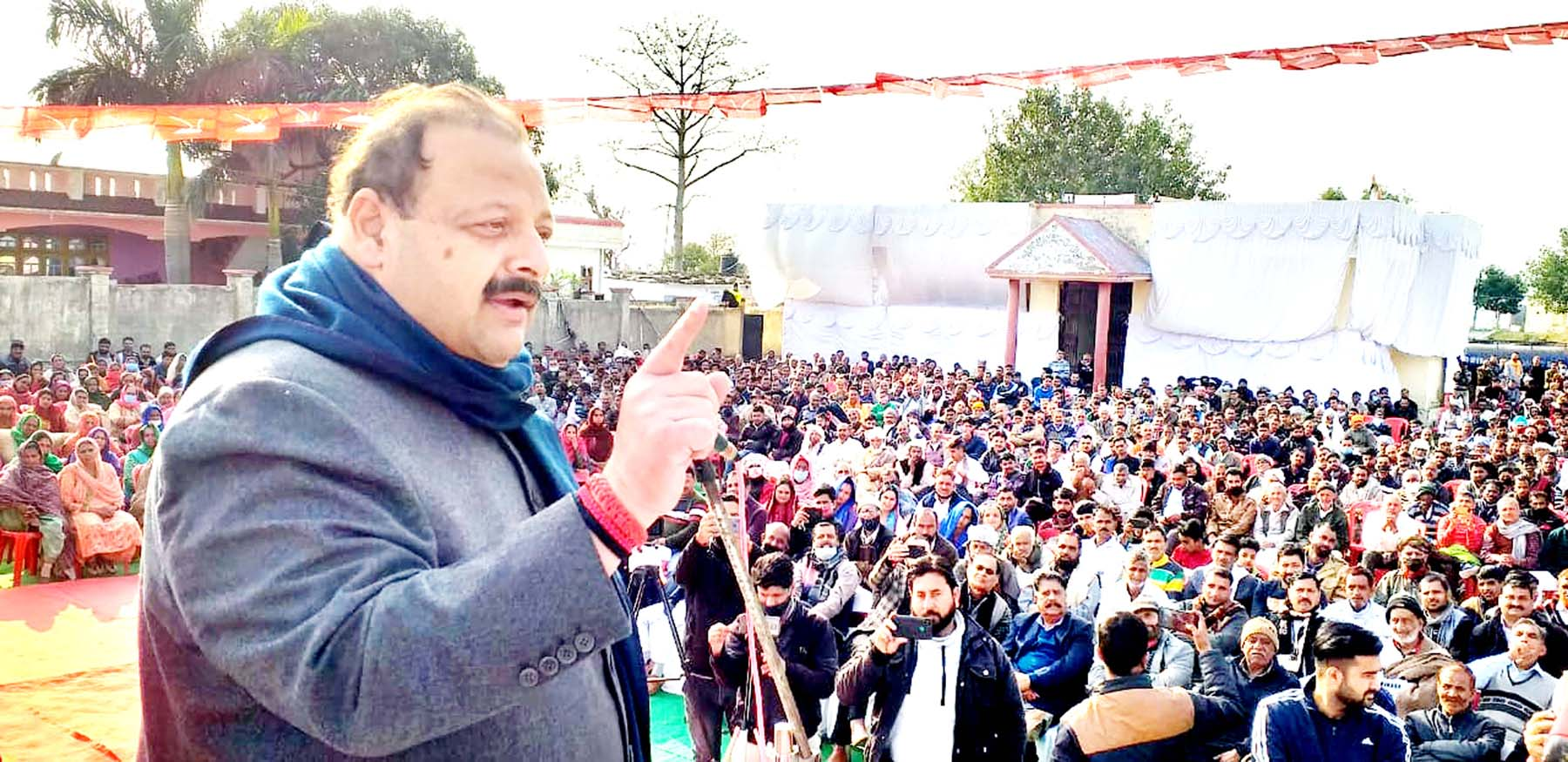 Provincial President National Conference Devender Singh Rana addressing a public meeting at Aghore on Sunday.