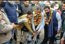 Sat Sharma, former Minister, kick starting construction works at Ward No 40 on Wednesday.