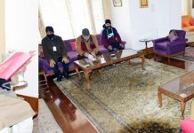 Lt Governor meeting delegation led by Chairman BDC Keran Kupwara on Monday.