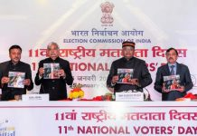 Union Law Minister Ravi Shankar Prasad (2R) with Chief Election Commissioner of India Sunil Arora (2L), and Election Commissioners Sushil Chandra (R) and Rajiv Kumar (L), releases a publication during the 11th National Voters' Day celebrations, in New Delhi. The National Voters Day is observed on Jan. 25 to mark the foundation day of the Election Commission.