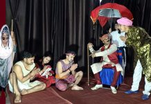 Artists of Palthyar Nehru Youth Club staging the play 'Baba Jitto'.