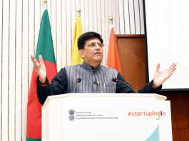 Union Minister for Railways and Commerce & Industry, Consumer Affairs, Food and Public Distribution, Piyush Goyal addressing at the inauguration of the two-day 'Prarambh: Startup India International Summit', organised by the Department for Promotion of Industry and Internal Trade, Ministry of Commerce and Industry, in New Delhi on Friday.