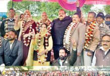 NC Provincial President Devender Singh Rana welcoming new entrants into party fold on Sunday.