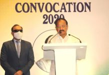 Vice President M Venkaiah Naidu, Delivering the Convocation Address at the Institute of Company Secretaries of India (ICSI), in Hyderabad on Monday. (UNI)