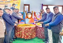 Bhagat Mahasabha members garlanding portrait of Savitribai Phule at Jammu on Sunday.
