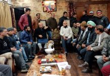 BJP vice president, Yudhvir Sethi addressing a meeting of party in Jammu East on Wednesday.