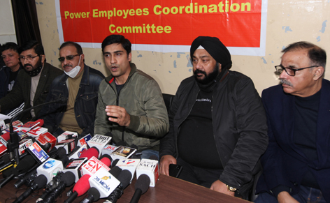 Members of PEECC interacting with media persons at Jammu on Monday. —Excelsior/Rakesh