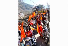 Participants during bike rally organised by RSS in Bhaderwah. —Excelsior/Tilak Raj