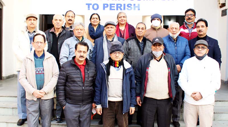 Representatives of KPS posing for a photograph after Executive Committee meeting at Jammu on Monday.