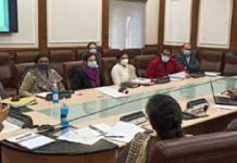 Financial Commissioner Health and Medical Education Atal Dulloo chairing a meeting on Monday.