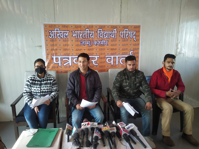 ABVP leaders addressing a press conference at Jammu on Thursday.