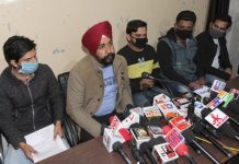 Candidates seeking Government job on compassionate ground, addressing a press conference at Jammu on Monday. —Excelsior/Rakesh