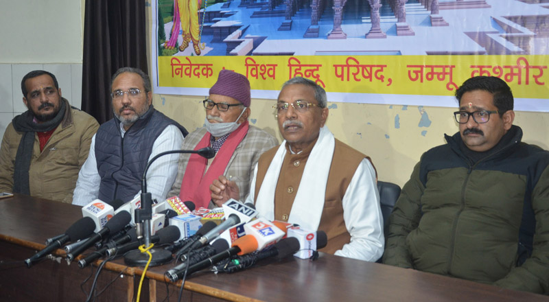 VHP leader Dr Surendra Jain addressing a press conference at Jammu on Thursday. -Excelsior/Rakesh