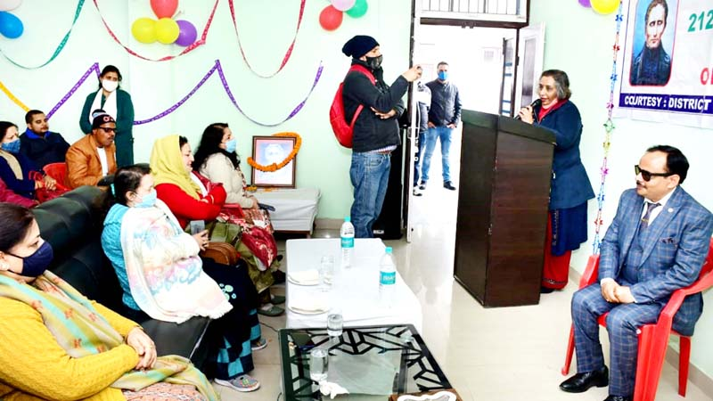 Director SWD Jammu, Smita Sethi addressing inmates and teachers at Residential School for Blind, Roop Nagar, Jammu.