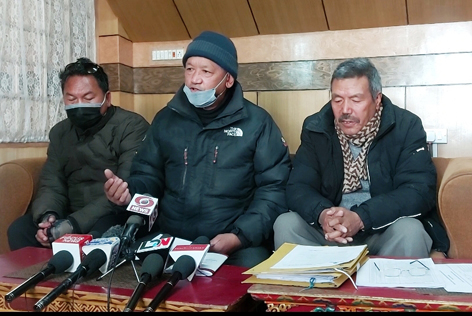 LBA election authority members addressing a press conference in Leh on Monday. —Excelsior/Morup Stanzin