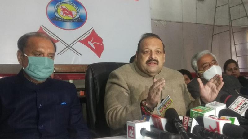 NC Provincial President Devender Singh Rana addressing press conference.