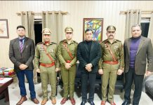 IGP Crime Branch J&K Jammu Manish Kishore Sinha and newly promoted Inspectors posing for group photograph.