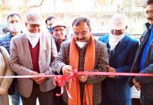 Former Legislator Vikram Randhawa inaugurating 'Peg N Leg' restaurant in Gandhi Nagar.
