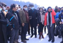 Members of Parliamentary delegation during a visit to ski resort of Gulmarg on Friday. -Excelsior/Aabid Nabi