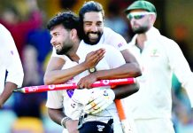 Mohammad Siraj along with Rishab Pant celebrating victory against Australia in fourth and final Test mach at the Gabba in Brisbane, Australia on Tuesday. (UNI)