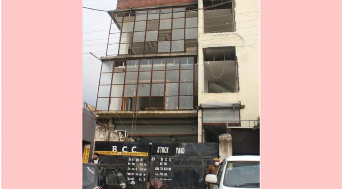 Registered Office of Beigh Construction Company at Narwal in Jammu which was raided by Income Tax Department on Wednesday. —Excelsior/Rakesh