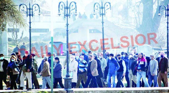 Foreign envoys at the Hazratbal shrine in Srinagar on Wednesday. —Excelsior/Shakeel