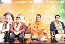 BJP President, Ravinder Raina and other leaders addressing DDC members at Party Headquarters Trikuta Nagar on Friday. -Excelsior/Rakesh
