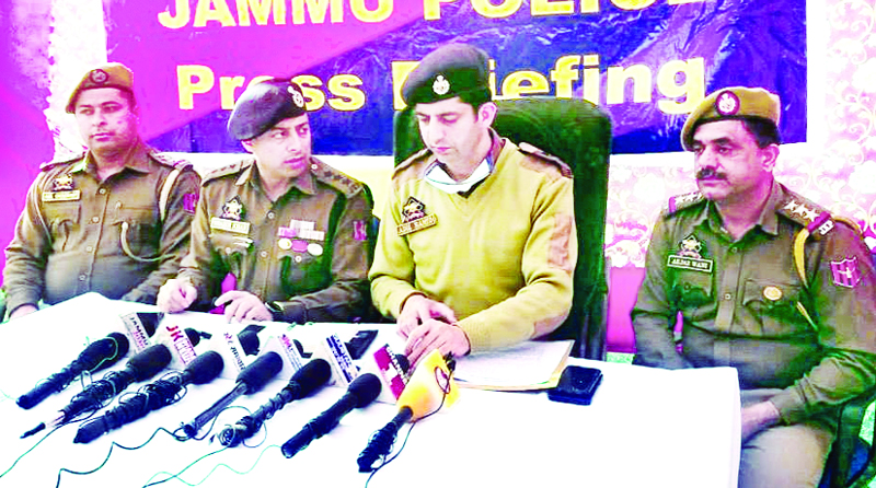 SP Headquarters Aadil Hamid interacting with media persons at Jammu on Sunday. -Excelsior/Rakesh