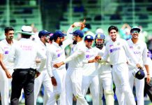 Indian players celebrating victory against England during 2nd Test Match at Chennai.