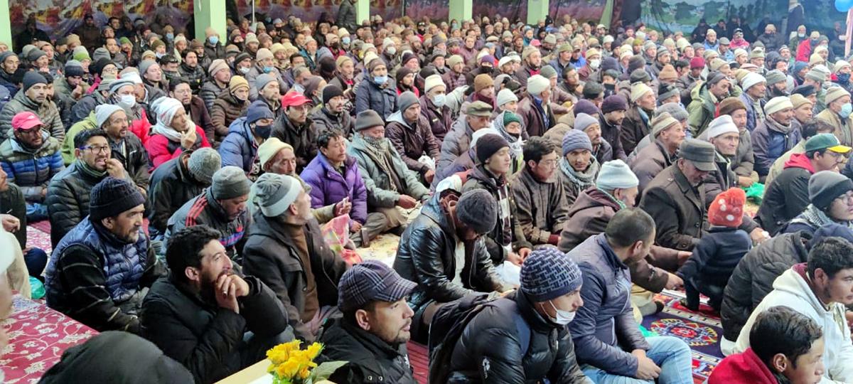 A gathering at Hozia Campus Kargil during celebration of birth anniversary of Hazrat Imam Ali. -Excelsior Basharat Ladakhi