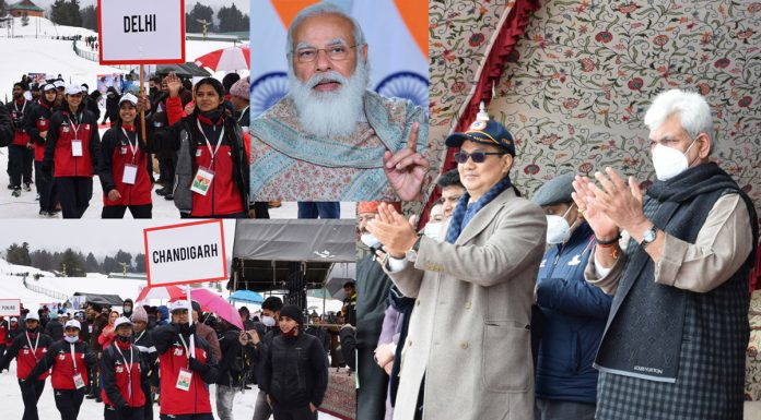 Prime Minister Narendra Modi, Union Minister for Sports Kirren Rijiju and Lieutenant Governor Manoj Sinha at the inaugural ceremony of Winter Games on Friday.