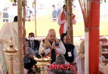 Union Home Minister Amit Shah at Prathistha Mahotsav of Maha Mritunjay temple in Nagaon (Assam) on Thursday. (UNI)
