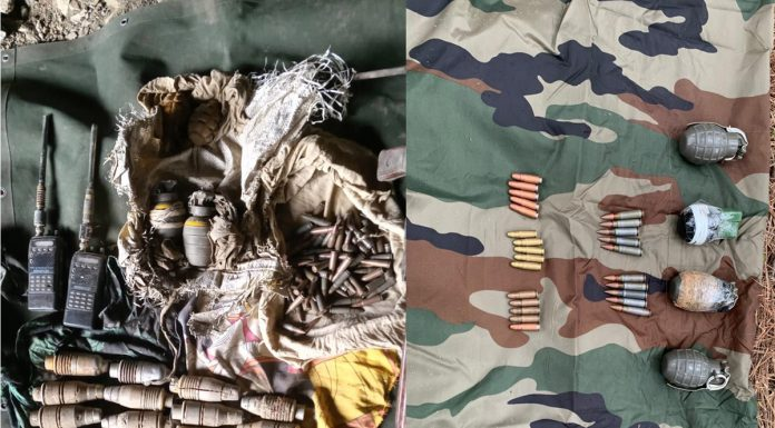 Arms and explosives recovered in Mahore, Reasi (left) and Balakote, Poonch (right) on Friday. -Excelsior pics by Romesh Mengi & Rahi Kapoor