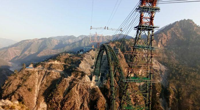 Work in progress on world's highest railway bridge at Khouri in Reasi district. — Excelsior/ Romesh Mengi