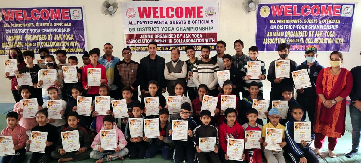 Winners posing for group phtograph while displaying their certificates during concluding ceremony at Jammu.