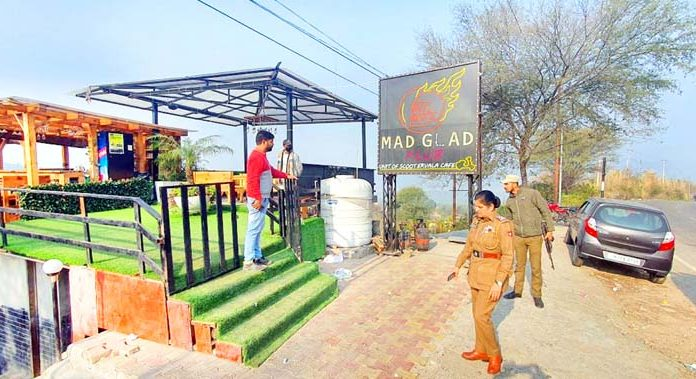A restaurant sealed by district administration Jammu on Saturday.