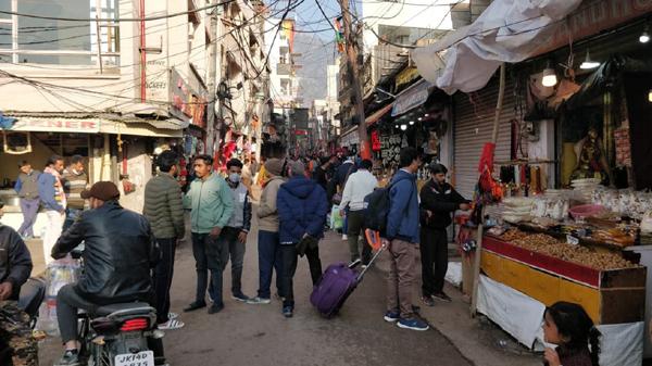 Vaishno Devi pilgrims at a market in Katra town.