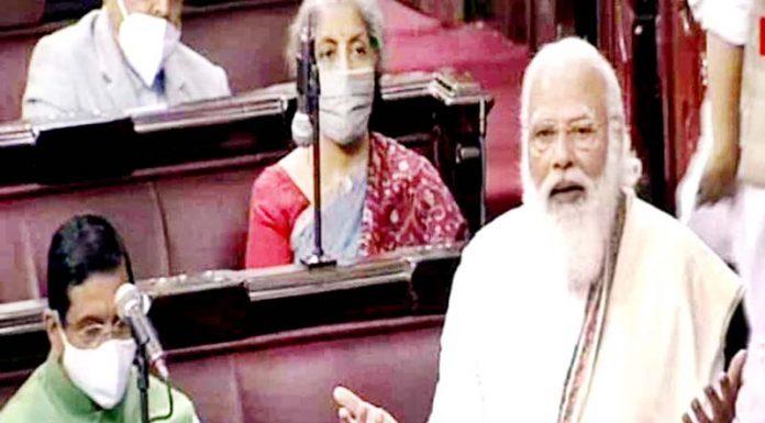 TV grab shows Prime Minister Narendra Modi speaking in Rajya Sabha in New Delhi on Monday. (UNI)