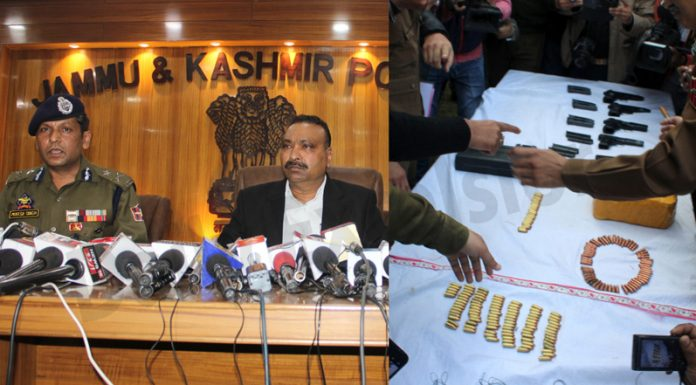 DGP Dilbag Singh and IGP Jammu Mukesh Singh at a press conference in Jammu (left) and recoveries made by police in Ramgarh, Samba (right) on Sunday. —Excelsior pics by Rakesh & Nischant